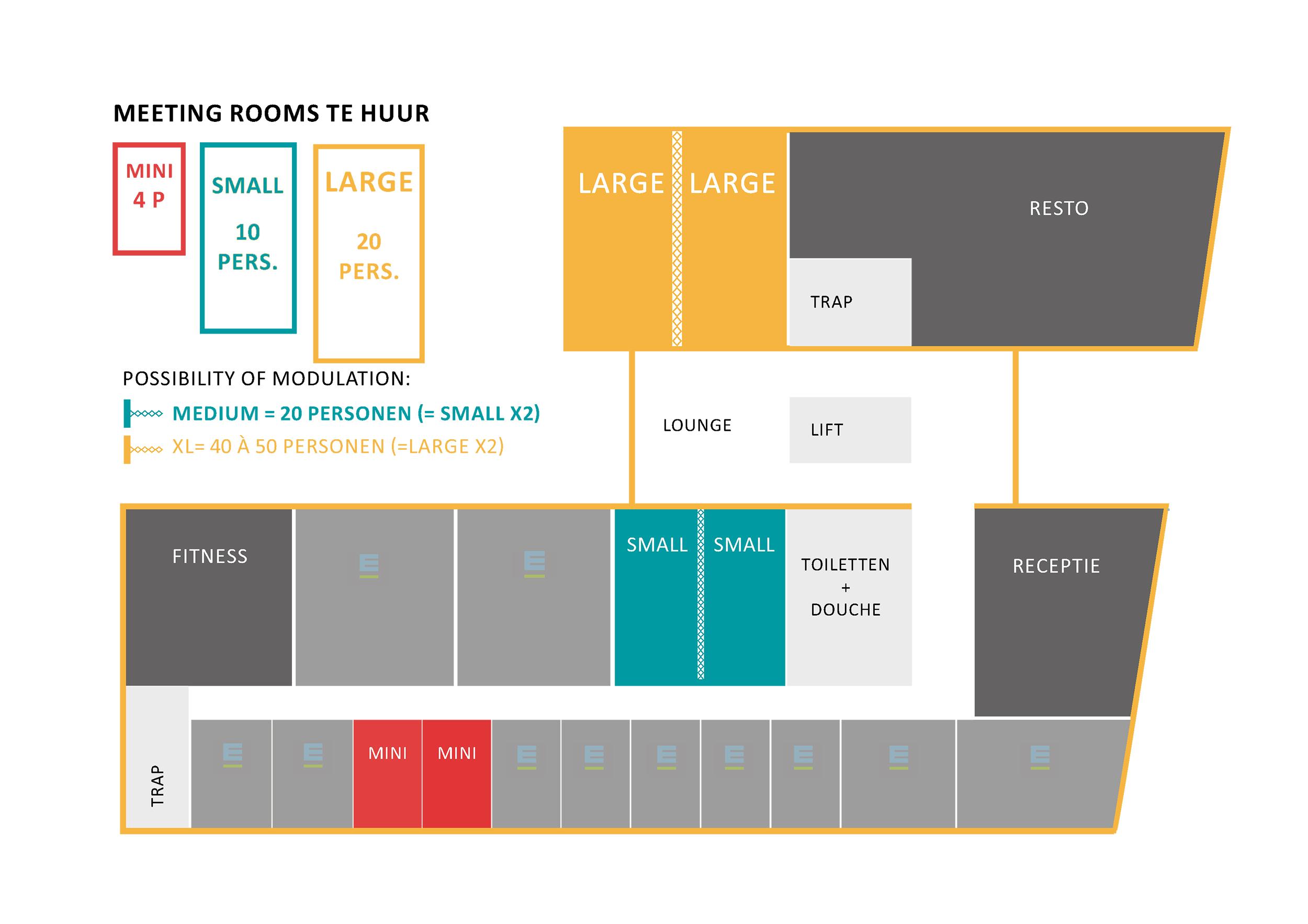 Meeting rooms te huur op het gelijkvloers